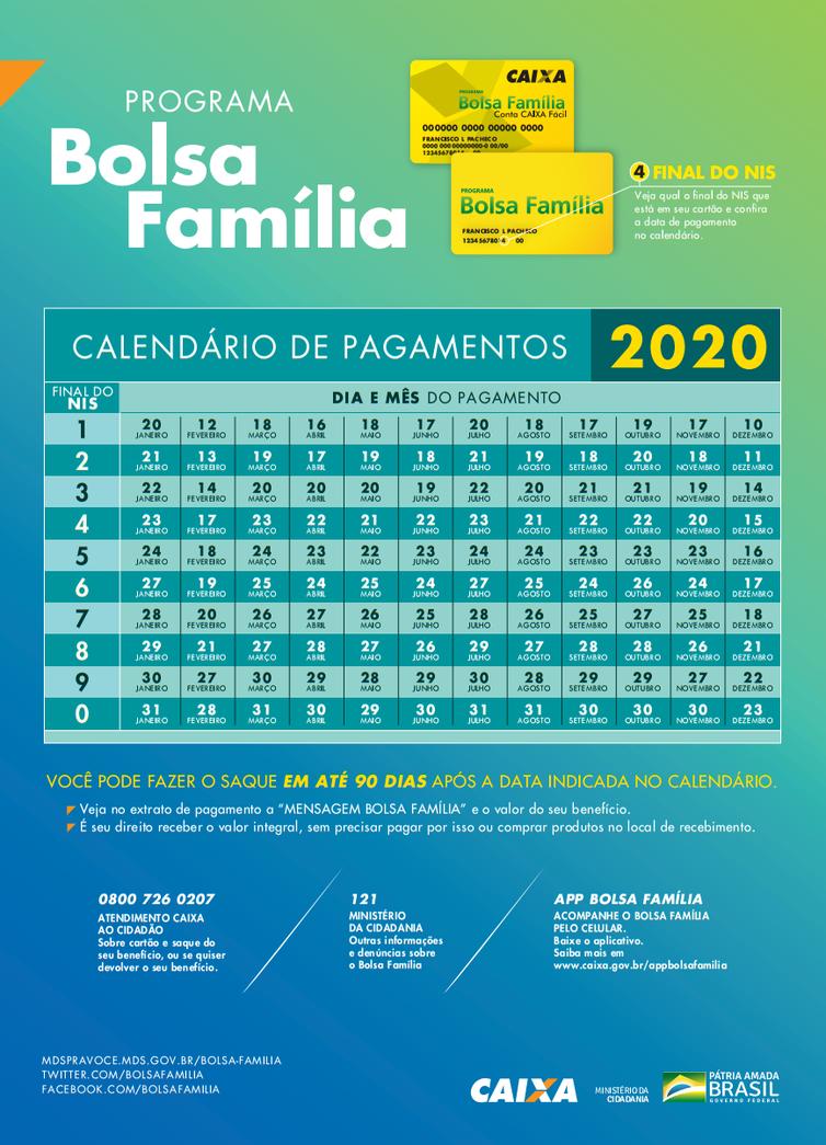 calendário do bolsa 2020